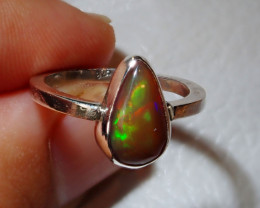 6sz Natural Ethiopian Welo Opal .925 Sterling Silver Ring