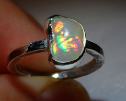 5.5sz Natural Ethiopian Welo Opal .925 Sterling Silver Ring