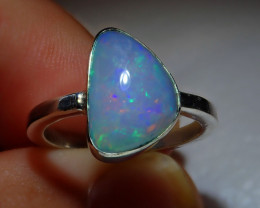 5.7sz Natural Ethiopian Welo Opal .925 Sterling Silver Ring