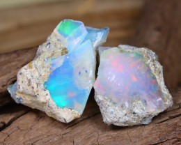 Welo Rough 14.62Ct Natural Ethiopian Play Of Color Rough Opal D0305