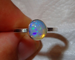 6.5sz Natural Ethiopian Welo .925 Sterling Silver Ring