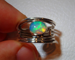 7sz Natural Ethiopian Welo .925 Sterling Silver Ring