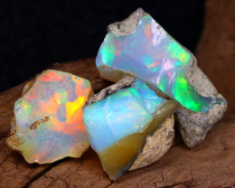 Welo Rough 17.27Ct Natural Ethiopian Play Of Color Facet Rough Opal F0404