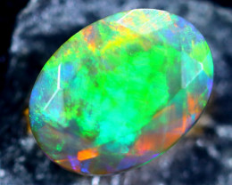 0.82cts Natural Ethiopian Smoked Faceted Opal / BF2207
