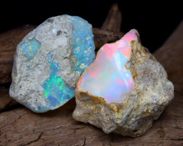 Welo Rough 12.07Ct Natural Ethiopian Play Of Color Facet Rough Opal F0501