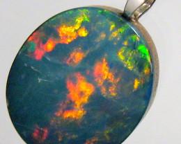 Australian Opal Pendant Solid Sterling Silver Doublet 4.75ct