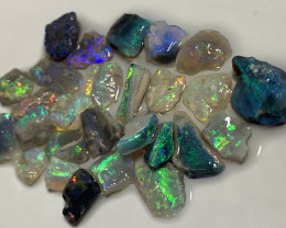 PLATE OF GEMS- BRIGHT MULTICOLOUR SMALL OPALS #513