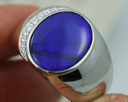 925 ST/ SILVER RHODIUM PLATED BLACK OPAL RING [CR1]