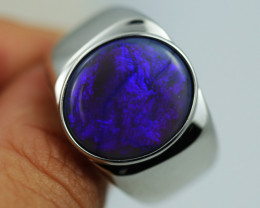 925 ST/ SILVER RHODIUM PLATED BLACK OPAL RING [CR2]