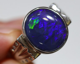 925 ST/ SILVER RHODIUM PLATED BLACK OPAL RING [CR3]