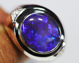 925 ST/ SILVER RHODIUM PLATED BLACK OPAL RING [CR4]