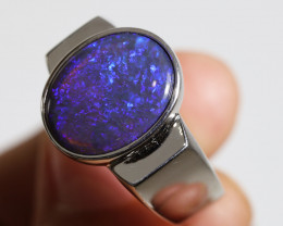 925 ST/ SILVER RHODIUM PLATED BLACK OPAL RING [CR5]