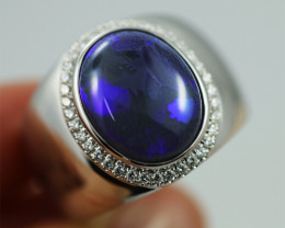 925 ST/ SILVER RHODIUM PLATED BLACK OPAL RING [CR6]