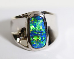 925 ST/ SILVER RHODIUM PLATED DOUBLET OPAL RING [FR7]