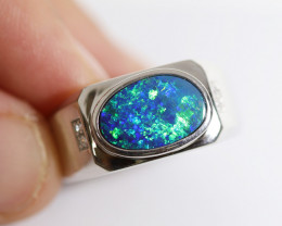 925 ST/ SILVER RHODIUM PLATED DOUBLET OPAL RING [CR8]