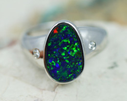 925 ST/ SILVER RHODIUM PLATED DOUBLET OPAL RING [CR9]