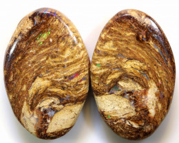 24 CTS BOULDER WOOD FOSSIL PAIR STONES NC-5035