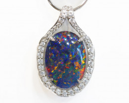 925 ST/ SILVER RHODIUM PLATED OPAL TRIPLET PENDANT [FP10]
