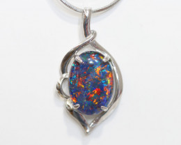 925 ST/ SILVER RHODIUM PLATED OPAL TRIPLET PENDANT [FP11]