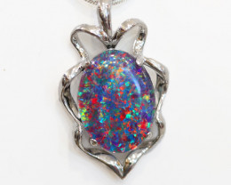 925 ST/ SILVER RHODIUM PLATED OPAL TRIPLET PENDANT [FP12]