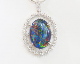925 ST/ SILVER RHODIUM PLATED OPAL TRIPLET PENDANT [FP13]