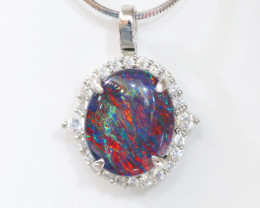 925 ST/ SILVER RHODIUM PLATED OPAL TRIPLET PENDANT [FP14]