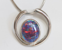 925 ST/ SILVER RHODIUM PLATED OPAL TRIPLET PENDANT [FP15]