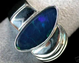 LARGE BRIGHT BLUE DOUBLET SILVER RING SIZE 11 T1060