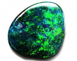 BRIGHT GREEN FIRE  BOULDER OPAL .40  CARATS  RD 203