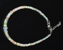 12.7 CT OPAL BRACELET MADE WITH NATURAL ETHIOPIAN BEADS STERLING SILVER OBB