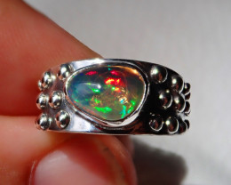 6sz Natural Welo Opal .925 Sterling Silver Ring