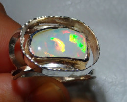 9sz Natural Welo Opal .925 Sterling Silver Ring