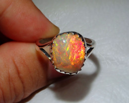 9.5sz Natural Welo Opal .925 Sterling Silver Ring