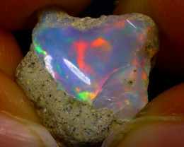 7.02Ct Multi Color Play Ethiopian Welo Opal Rough JN118/R2