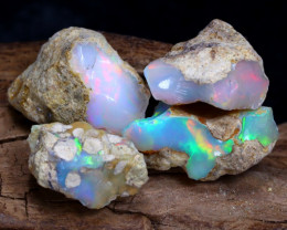 Welo Rough 19.03Ct Natural Ethiopian Play Of Color Rough Opal D1707