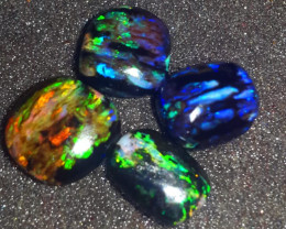 16.60 CRT 4PCS DELUXE COLOR SPECIMENT INDONESIAN OPAL WOOD FOSSIL*