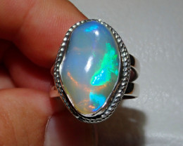 8.5sz Natural Ethiopian Welo Opal .925 Sterling Silver Ring