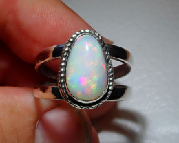 11sz Natural Ethiopian Welo Opal .925 Sterling Silver Ring