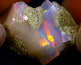 26.51Ct Multi Color Play Ethiopian Welo Opal Rough J2522/R3