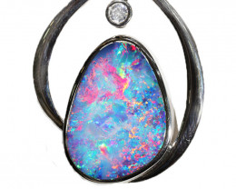 925 ST/ SILVER RHODIUM PLATED OPAL DOUBLET PENDANT [CP146]