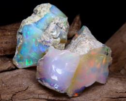 Welo Rough 14.20Ct Natural Ethiopian Play Of Color Rough Opal F2205