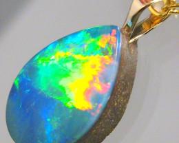Australian Genuine Opal Pendant 14k Gold Doublet 2.65ct