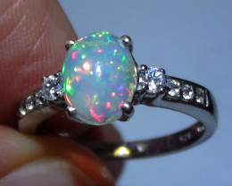 OPAL SIZE 7 WOMENS SILVER RING WITH CUBIC ZIRCONIAS