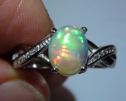 OPAL SIZE 7.3 WOMENS STERLING SILVER RING WITH CUBIC ZIRCONIAS *
