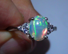 OPAL SIZE 7 WOMENS STERLING SILVER RING WITH CUBIC ZIRCONIAS