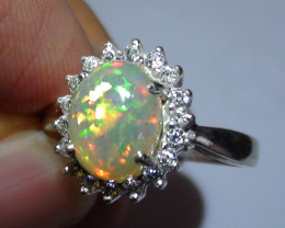 OPAL SIZE 6.5 WOMENS STERLING SILVER RING WITH CUBIC ZIRCONIAS *