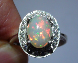 OPAL SIZE 6 WOMENS STERLING SILVER RING WITH CUBIC ZIRCONIAS *