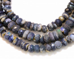 61 CTS  L RIDGE BLACK  OPAL FACETED BEADS STRAND TBO-1317