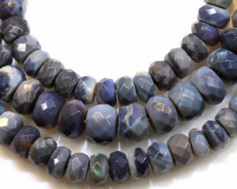 68.90 CTS  L RIDGE BLACK  OPAL FACETED BEADS STRAND TBO-1321