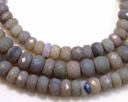 59.50 CTS  L RIDGE DARK BASE OPAL FACETED BEADS STRAND TBO-1322